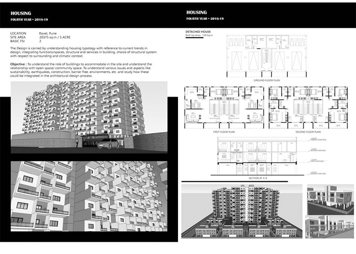 4TH Year Design Problem On Housing At Ravet,  For 1-BHK, ,2-BHK, 3-BHK And Semi-Detached Bungalow, Including Club House.1