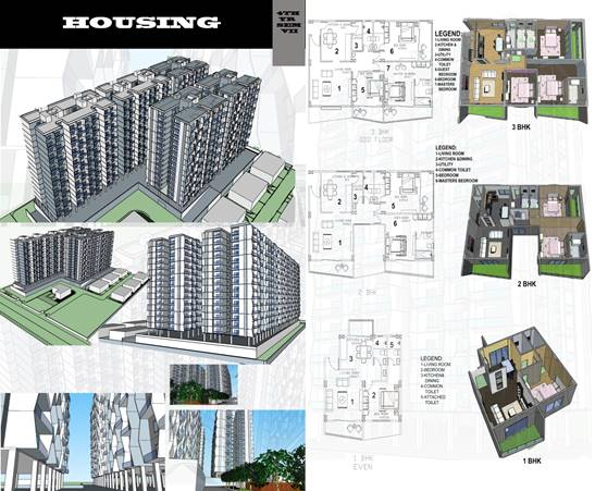 4TH Year Design Problem On Housing At Ravet,  For 1-BHK, ,2-BHK, 3-BHK And Semi-Detached Bungalow, Including Club House.2