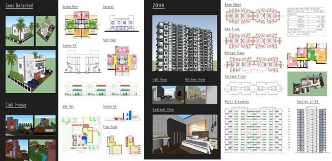 4TH Year Design Problem On Housing At Ravet,  For 1-BHK, ,2-BHK, 3-BHK And Semi-Detached Bungalow, Including Club House.3
